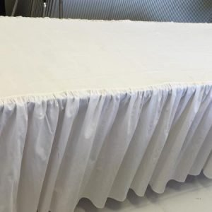 Table Cover Frilled White 1.8m or 2.4m